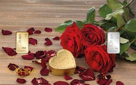 Rosenstrauß mit einem Gold- und einem Silberbarren