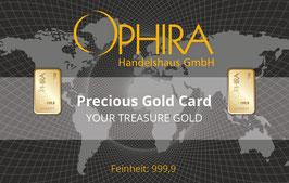 Ophira Geschenkkarte mit zweimal  1 g Goldbarren mit Aufbewahrungsb0x