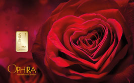 Rose mit Herz und einem Goldbarren ab 0,10 Gramm
