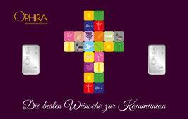 Die besten Wünsche zur Kommunion mit 2 Silberbarren ab 1 Gramm -Kreuz lila- M3S2