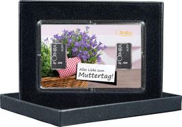 Alles Liebe zum Muttertag mit zwei Silberbarren -Herz mit Lavendel- M1S2