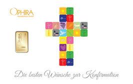 Die besten Wünsche zur Konfirmation mit Goldbarren ab 0,5 Gramm -Kreuz weiß- M4G1