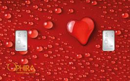 Herz aus Wassertropfen mit zwei Silberbarren ab 1 Gramm