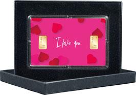 I Love You mit zwei Goldbarren ab 0,50 Gramm M12G2