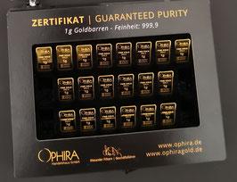 20 OPHIRA Goldbarren zu 1 g