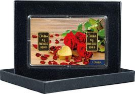 Rosen und Herz mit zwei Goldbarren ab 0,50 Gramm M5G2
