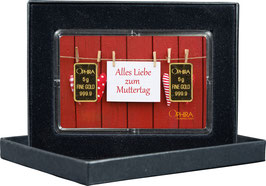 Alles Liebe zum Muttertag mit zwei Goldbarren ab 0,5 g -Herzen am Zaun- M2G2