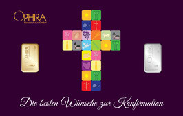 Die besten Wünsche zur Konfirmation mit 1 Goldbarren und 1 Silberbarren -Kreuz lila- M3GS
