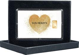 Von Herzen mit einem Goldbarren ab 0,50 Gramm -mit Glitzerlack- M7G1