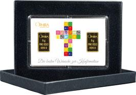 Die besten Wünsche zur Konfirmation mit zwei Goldbarren ab 0,5 g -Kreuz weiß- M4G2
