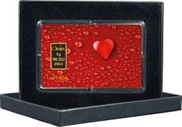 Herz aus Wassertropfen mit 1 Goldbarren ab 0,50 Gramm M2G1