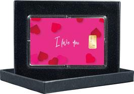 I Love You mit einem Goldbarren ab 0,50 Gramm - M12G1