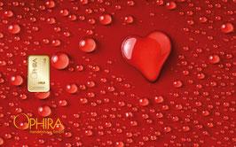 Herz aus Wassertropfen mit einem Goldbarren ab 0,10 Gramm