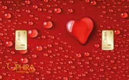 Herz aus Wassertropfen mit zwei Goldbarren ab 0,10 Gramm