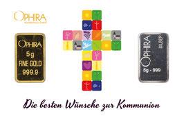 Die besten Wünsche zur Kommunion mit einem Goldbarren und einem Silberbarren -Kreuz weiß- M4GS
