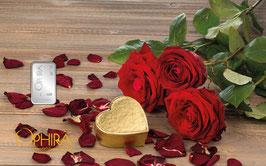 Rosen und Herz mit einem Silberbarren ab einem Gramm