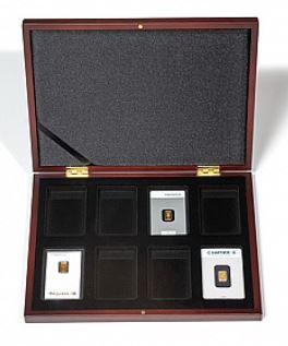 Kasette VOLTERRA für 8 X Goldbarren in Blisterverpackung, Mahagoni