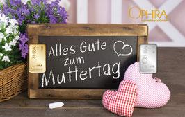 Alles Gute zum Muttertag mit einem Goldbarren ab 0,10 g und einem Silberbarren ab 1 Gramm M4GS
