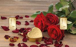 Rosen und Herz mit zwei Goldbarren ab 0,10 Gramm