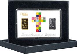 Die besten Wünsche zur Konfirmation mit 1 Goldbarren und 1 Silberbarren -Kreuz weiß- M4GS