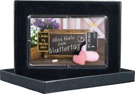 Alles Gute zum Muttertag mit einem Goldbarren ab 0,50 g und einem Silberbarren ab 1 g -Schiefertafel-  M4GS