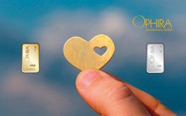 Herz im Herz mit einem Gold- und einem Silberbarren