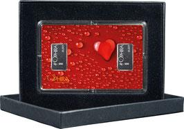 Herz aus Wassertropfen mit zwei Silberbarren ab 1 Gramm M2S2