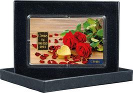 Rosen mit Herz mit einem Goldbarren ab 0,50 Gramm M5G1