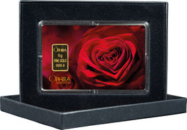 Rose mit Herz und einem Goldbarren ab 0,50 Gramm M4G1