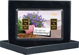 Alles Liebe zum Muttertag mit zwei Goldbarren ab 0,5 g -Herz mit Lavendel- M1G2