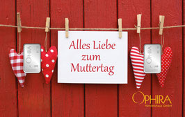 Alles Liebe zum Muttertag mit zwei Silberbarren -Herzen am Zaun- M2S2
