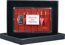 Alles Liebe zum Muttertag mit einem Silberbarren ab 1 Gramm -Herzen am Bretterzaun- M2S1