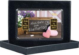 Alles Gute zum Muttertag mit zwei Goldbarren ab 0,5 Gramm -Schiefertafel- M4G2
