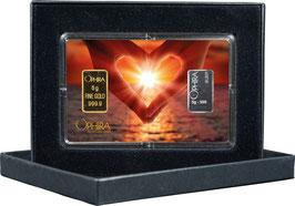 Herz aus zwei Händen mit einem Gold- und 1 Silberbarren M1GS