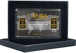 Ophira Geschenkkarte mit zweimal 5  g Goldbarren mit Aufbewahrungsbox