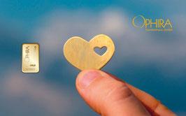 Herz im Herz mit einem Goldbarren ab 0,10 Gramm