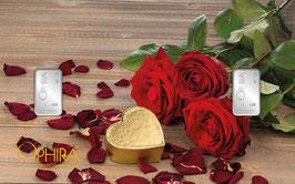 Rosen und Herz mit zwei Silberbarren ab 1 Gramm