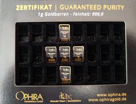5 OPHIRA Goldbarren zu je 1 g