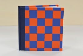 NOTIZBUCH QUART- UNLINIERT - DUNKELBLAU + BLAU + ORANGE