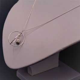 Sautoir sphère avec cristal de roche et hématite