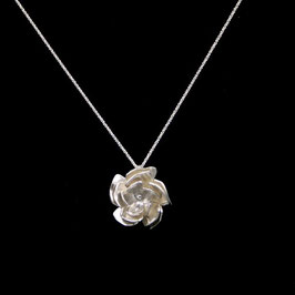Collier rose forgée argent 925/00