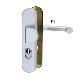 Alu Schutz-Wechselgarnitur ES1, mit Griffplatte und Kernziehschutz (Langschild)