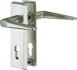 Alu-Schutzbeschlag für Wohnungseingangstüren, Kurzschild - Drücker/Drücker SM09,AUS=B/410