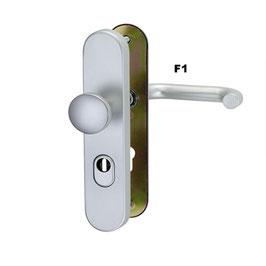 Alu Schutz-Wechselgarnitur ES1, mit Flachknopf und Kernziehschutz (Langschild)