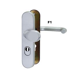Alu Schutz-Wechselgarnitur ES1, mit gekröpfter Griffplatte und Kernziehschutz (Langschild)