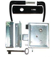 Zimmertürkastenschloss mit schließender Falle inkl. Drücker und Schild BB / PZ