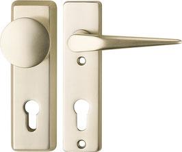 Alu-Schutzbeschlag für Wohnungseingangstüren, Kurzschild - Pilzknopf/Drücker SM09,AUS=W/410