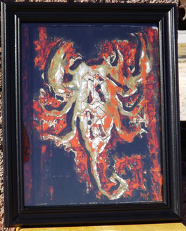 Scorpion I Giclee Hand Painted Print on Canvas with Black Frame