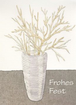 Grußkarte Vase mit Goldzweigen