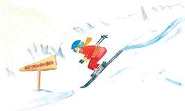 Grußkarte Skifahrer